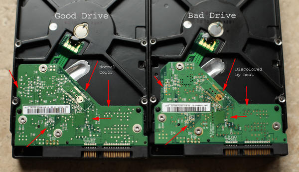 Side by side, two hard drives