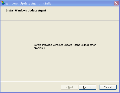 Windows Update Agent install screen